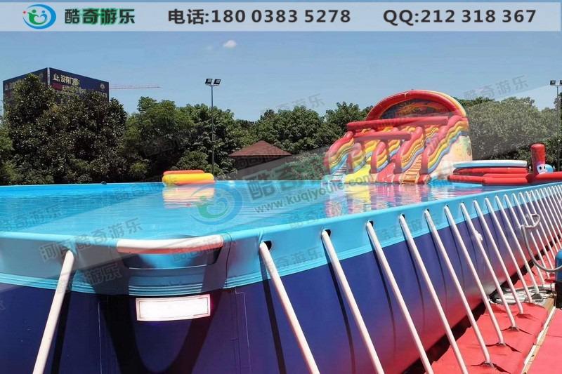 海豚水滑梯搭配支架水池 充气水池滑梯厂家直销